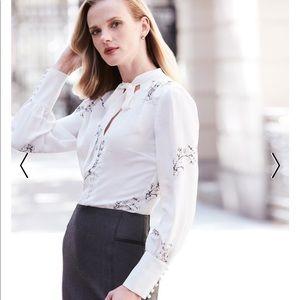 WHBM Silk-blend floral print blouse